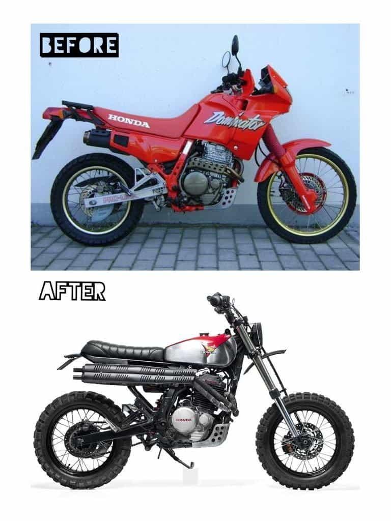 Honda NX650 Dominator Retro Scrambler Prima e Dopo
